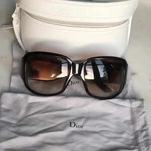 Tortoise Dior sunglasses and case